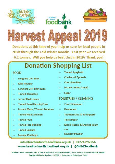 Bradford North Foodbank Harvest Poster 2019
